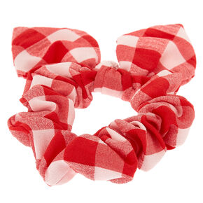 Checkered Tie Hair Scrunchie - Red,