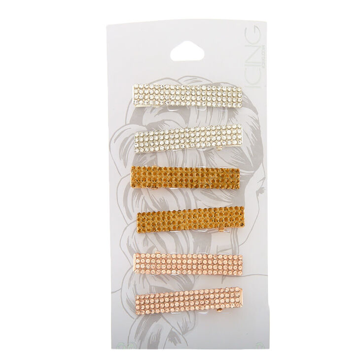 Mixed Metal Rhinestone Rectangle Hair Clips - 6 Pack,