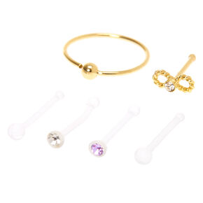 Sterling Silver Gold & Clear Infinity Crystal Nose Rings - 6 Pack,