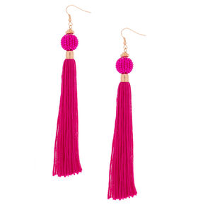 """5"""" Vintage Design Tassel Drop Earrings - Hot Pink,"""