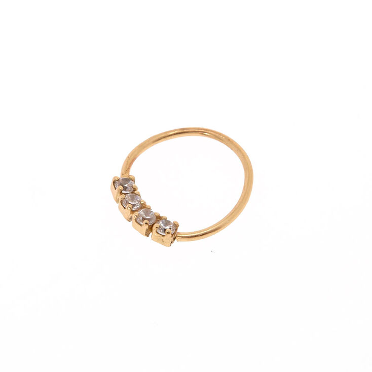 Sterling Silver 24G Gold Crystal Hoop Nose Ring,
