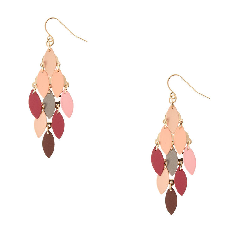 Multi-Colored Marquis Disc Chandelier Drop Earrings,