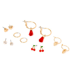 Gold Cherry Heart Mixed Earrings - Red, 6 Pack,