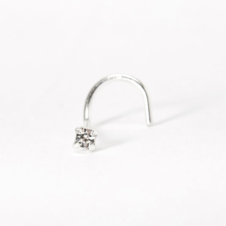 Silver 22G Classic Crystal Nose Stud,