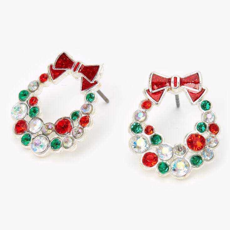 Silver Embellished Wreath Stud Earrings,