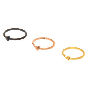 Mixed Metal 20G Arrow Hoop Nose Rings - 3 Pack,