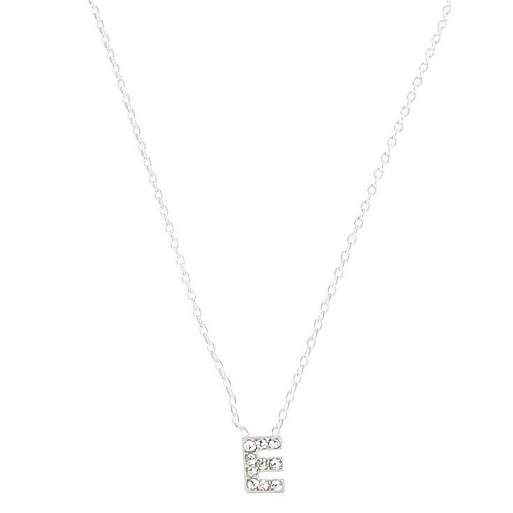 Silver Initial Pendant Necklace - E,