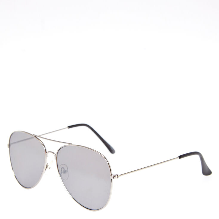 Silver-Tone Aviator Sunglasses,