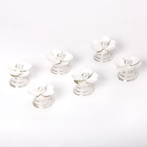 Poppy Flowers Hair Spinners - White, 6 Pack,