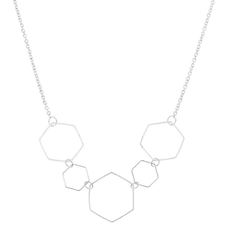 Silver Hexagon Statement Necklace,