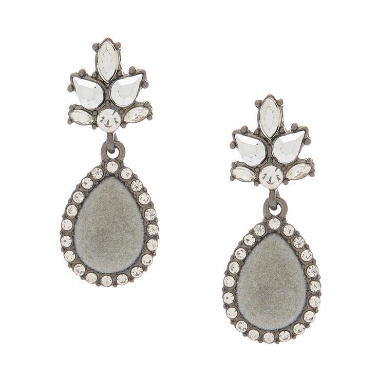 "Hematite 1.5"" Velvet Glam Teardrop Drop Earrings,"