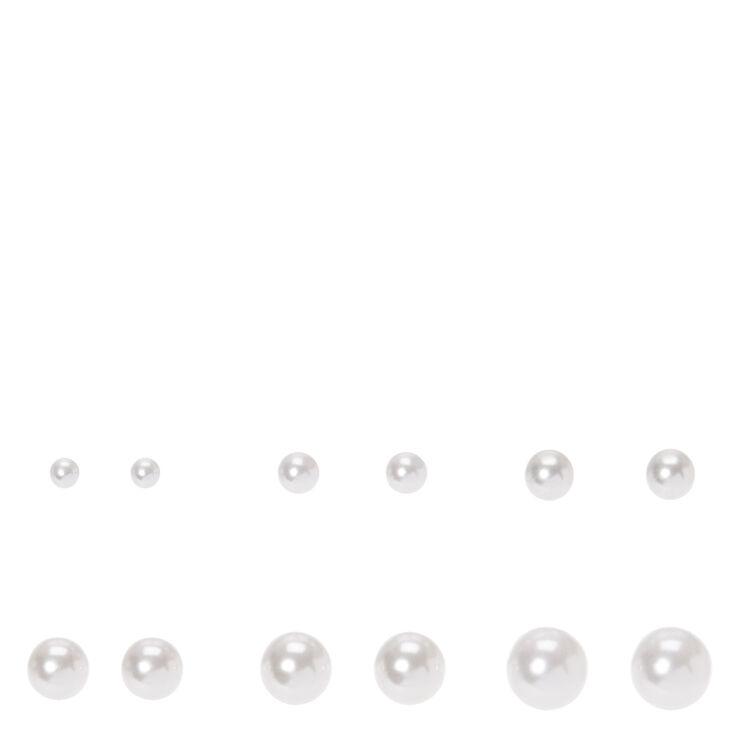 Graduated Pearl Stud Earrings - White, 6 Pack,