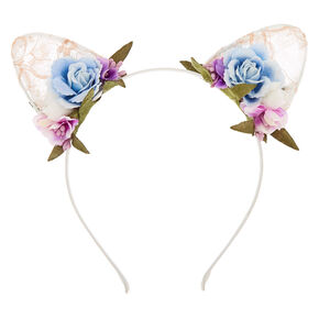 Flower & Lace Cat Ears Headband,