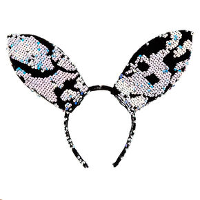 Velvet Sequin Bunny Ears Headband - Blue,