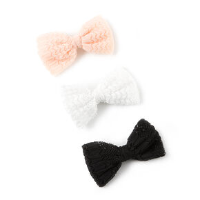 Mesh Chevron Design Mini Hair Bow Clips Set of 3,