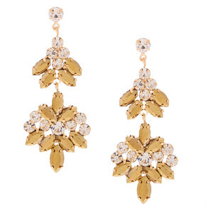 "Gold Rhinestone 3"" Double Fan Drop Earrings,"