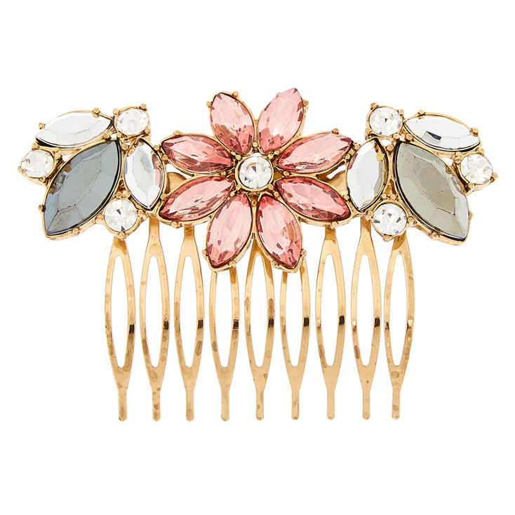 Antique Gold Embellished Floral Hair Comb,
