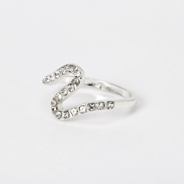 Silver Embellished Wave Ring,