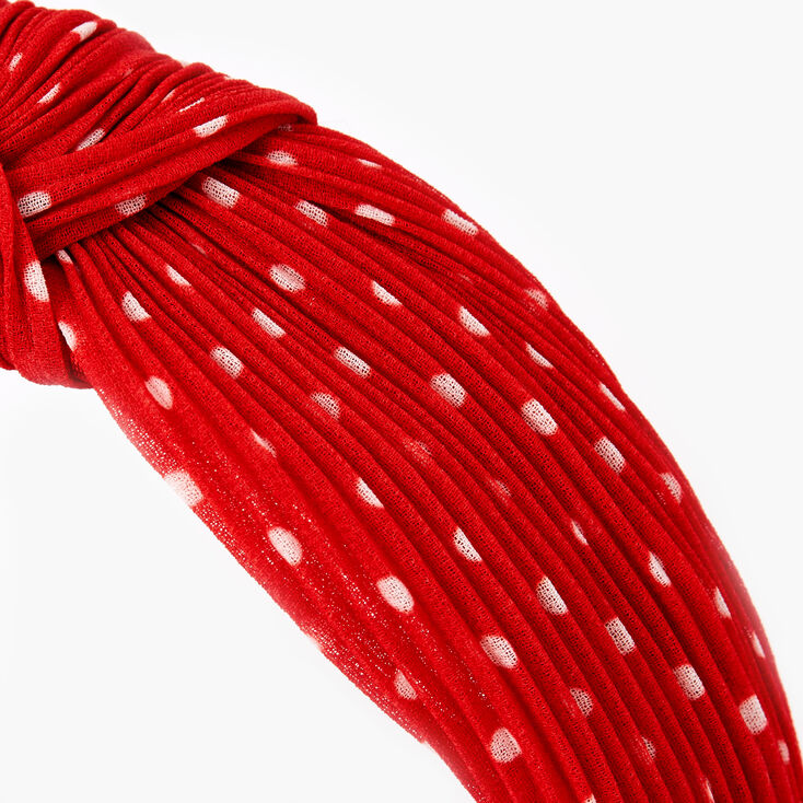 Polka Dot Pleated Knotted Headband - Red,
