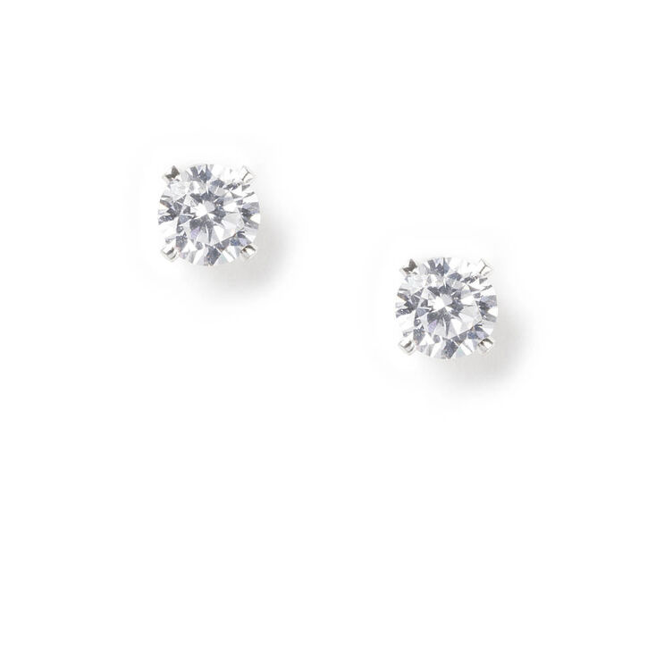 Sterling Silver Cubic Zirconia Round Stud Earrings - 6MM,