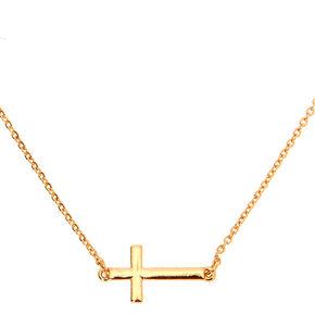 Gold Sideways Cross Pendant Necklace,