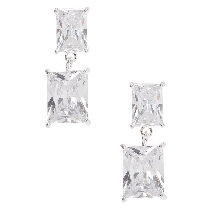 "Silver Cubic Zirconia 1"" Double Rectangle Drop Stud Earrings,"