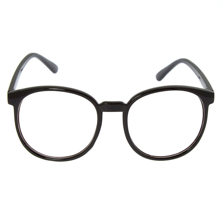 Oversized Round Clear Lens Frames - Black,