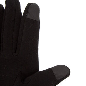Studded Knit Fashion Gloves - Black,