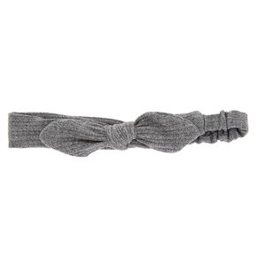 Ribbed Knot Bow Headwrap - Gray,