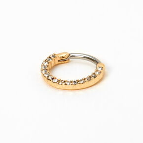 Gold 16G Crystal Hoop Septum Nose Ring,