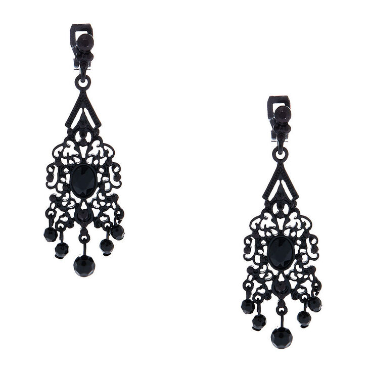 "2"" Filigree Beaded Clip On Drop Earrings - Black,"