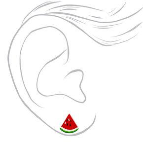 Sterling Silver Watermelon Stud Earrings,