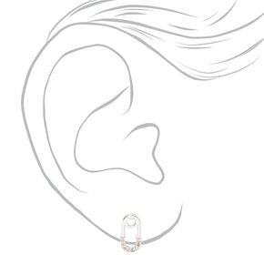 Silver Cubic Zirconia Safety Pin Stud Earrings,