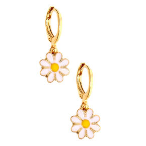 Gold 10MM Daisy Charm Hoop Earrings,