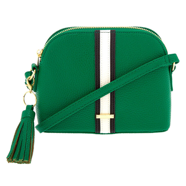 Striped Crossbody Bag - Green,