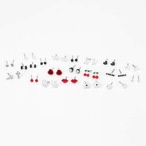 Silver Lovely Romance Stud Earrings - Red, 20 Pack,