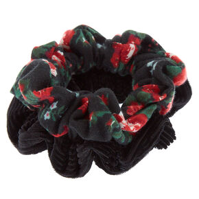 Velvet Floral Hair Scrunchies - Black, 2 Pack,