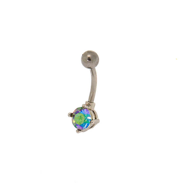 Silver Swarovski® Anodized Stone Belly Ring,