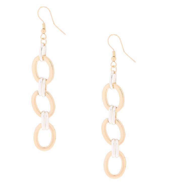 Gold & Silver Chain Drop Earrings,