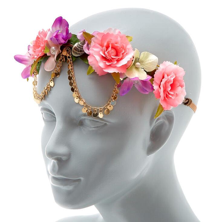 Seashell Flower Crown Headwrap - Pink,
