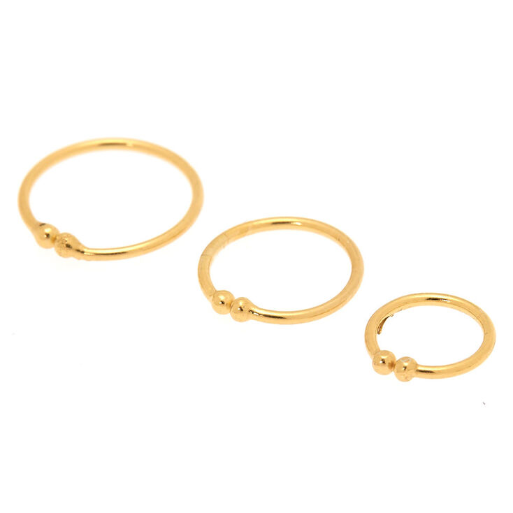 Sterling Silver Gold Faux Nose Rings - 3 Pack,