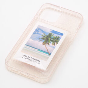 Clear Glitter Instax Mini Pocket Protective Phone Case - Fits iPhone 12/12 Pro,