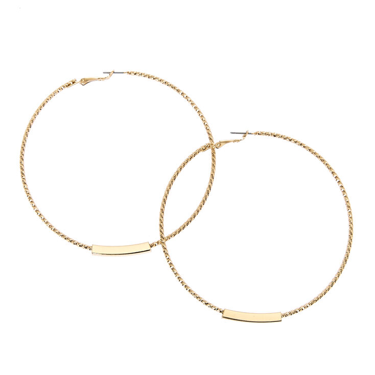 Big Gold Bar Hoop Earrings,