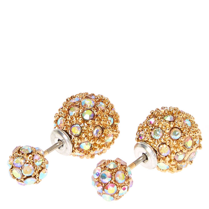 bf057755a Gold Tone Iridescent Pavè Ball Front & Back Stud Earrings, Zoom  In