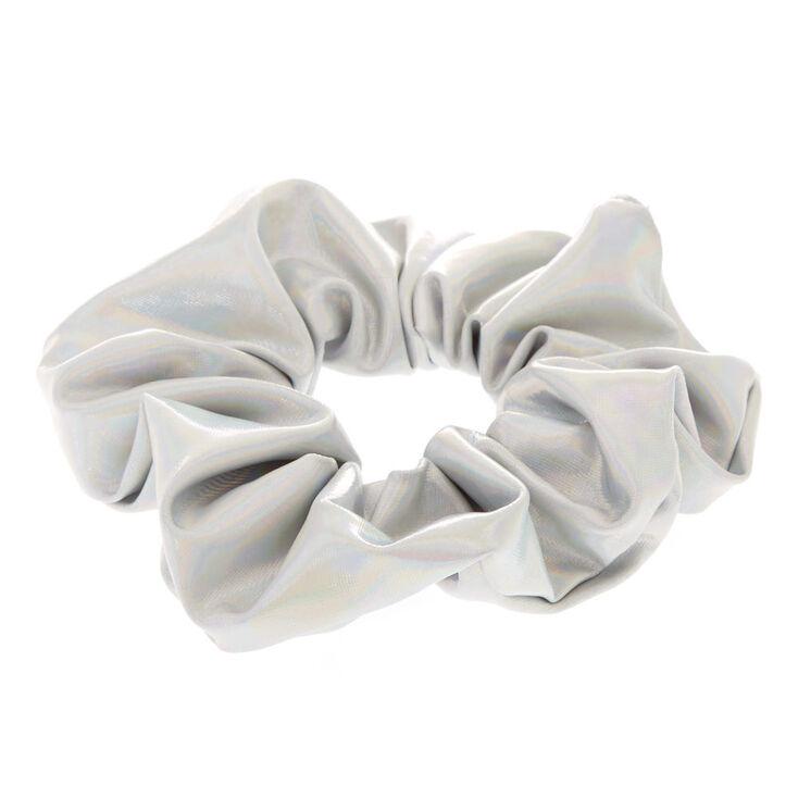 Medium Holographic Hair Scrunchie - Silver,