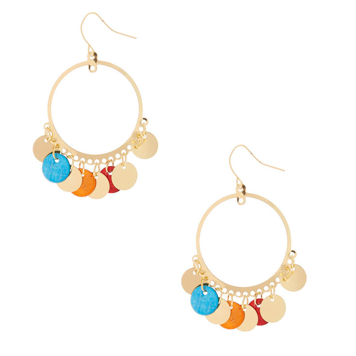 """Gold 2"""" Round Shell Drop Earrings,"""