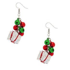 "1.5"" Bells & Present Drop Earrings,"