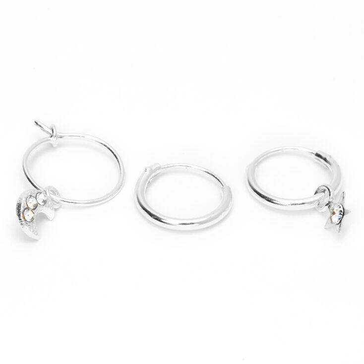 Sterling Silver 22G Celestial Cartilage Hoop Earrings - 3 Pack,