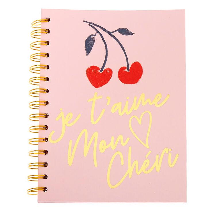 Je T'Aime Mon Cheri Cherries Notebook - Pink,