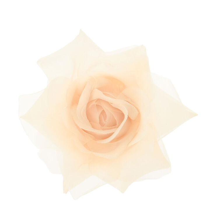 Cream  Chiffon Rose Hair Clip,